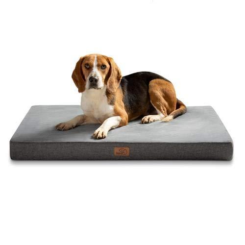 Bedsure Hundekissen Orthopädisch Memory Foam Hundematratze für Grosse Hunde, Hundebett mit Ergonomisch Design,Waschbar rutschfest Größe in 89x56x8 cm L