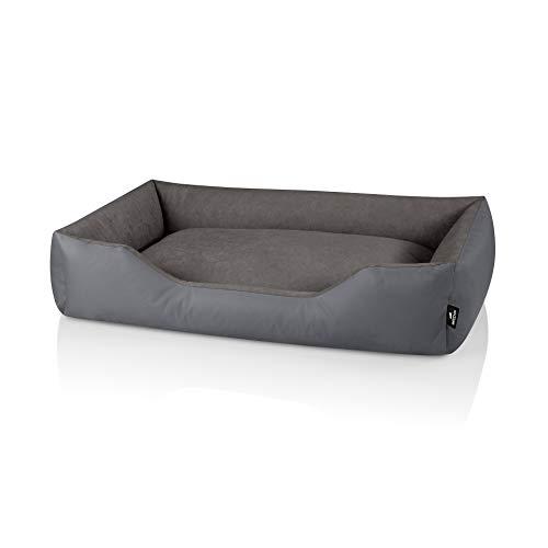 BedDog® Hundebett Zara, Hundesofa aus Cordura, Microfaser-Velours, waschbares Hundebett mit Rand, Hundekissen Vier-eckig, für drinnen, draußen, XXL, Steel-Grey (grau)