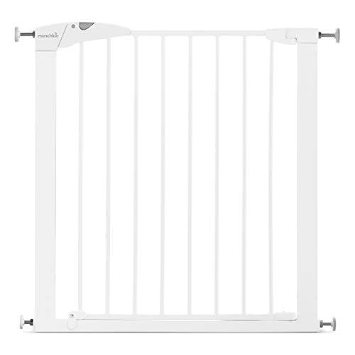 Munchkin Maxi-Secure Tür-/Treppenschutzgitter mit Druckbefestigung, Türschutzgitter für Kinder, Hunde und Katzen 76 - 82 cm, maximum 117 cm mit Verlängerung, weiß