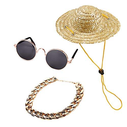 QPLKL Hund Sonnenbrillen 3 stück Haustier Hund Katze zubehör Sonnenbrille Halskette Set Dekoration zubehör für Katze Hund Cosplay Kleidung Party zubehör Für große und kleine Hunde