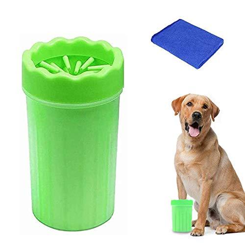 WELLXUNK Haustier Pfotenreiniger,Pfotenreiniger aus Silikon,Tragbarer Hunde Pfote Reiniger mit Handtuch für Hunde Katzen Massage Pflege Schmutzige Klauen