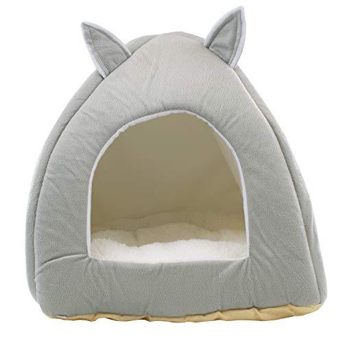 DIGFILEX Graues Teddybär-Haustierbett - Weiches selbstwärmendes waschbares Fleece Katzen- oder Hundebett - Ideal für Katzen Kätzchen und kleine Hunde - Weiche, bequeme Katzenbetthütte - 40 x 40 x 35cm