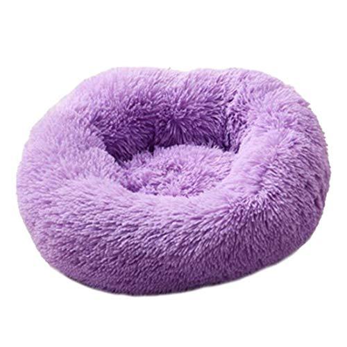 40-80cm großes Hundebett Warmes Fleece Donut Pet Lounger Kissen für kleine mittlere Katzen Winter Hundewelpen Mat Pet Bett, E, 60cm