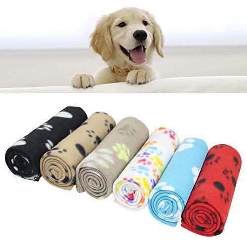 AK KYC gemischte Welpen-Decke, Kissen für Hunde und Katzen, Fleece-Decken, Schlafmatte für Haustiere, mit Pfotenabdruck, weich, warm, für Tiere, 6 Stück