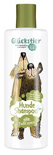 Glückstier Hundeshampoo, 250 ml, rückfettendes Shampoo für alle Hunderassen, für glänzendes Fell & bessere Kämmbarkeit, angepasster pH-Wert, 100 % vegan & tierleidfrei