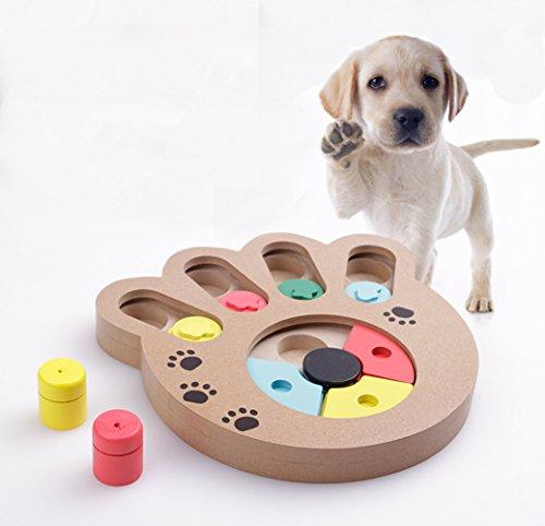 FakeFace Hunde Lernspielzeug Strategiespiel Holz Multifunktionale Hundespielzeug für füttern und Spaß Machen, IQ Treat Training Spielzeug, Pfote-Form