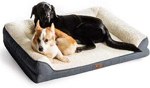 Bedsure Orthopädisches Hundesofa für große Hunde mit Kuschelig Weiche Sherpa-Oberfläche 106x81x18cm