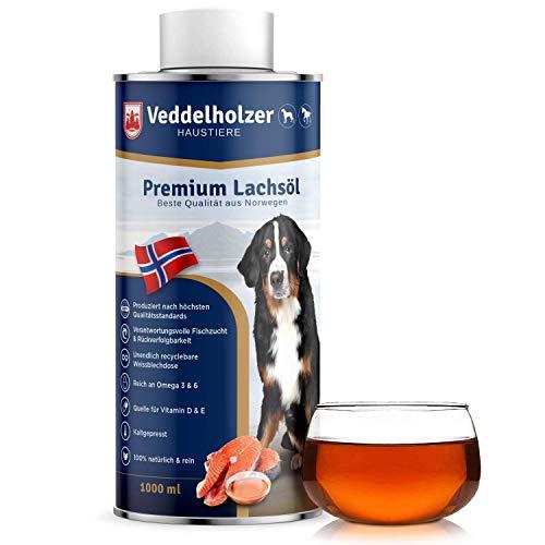 Veddelholzer Lachsöl für Hunde 1 Liter mit Omega3 Fettsäuren & Vitamin E Fischöl Hund in recycelbarer Weißblechdose Ideale Fellpflege Gut für Knochen & Immunsystem