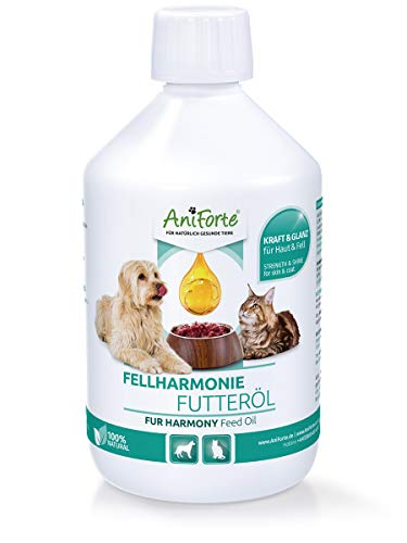 AniForte Fellharmonie Futteröl für Hunde & Katzen 500ml - Natürliche Fellpflege für seidig glänzendes Fell & Vitale Haut, Lachsöl, Nachtkerzenöl & Hanföl zum Barfen, mit Omega 3 & Omega 6 Fettsäuren