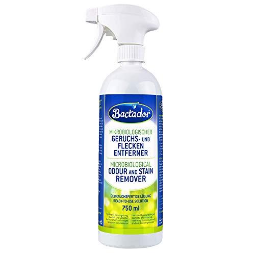 Bactador Geruchsentferner & Fleckenentferner Spray 750ml - Biologischer Enzymreiniger als Gebrauchsfertige Lösung gegen Schweiß, Katzenurin, Hundeurin, Tiergerüche - Für Haushalt, Auto & Tierumgebung