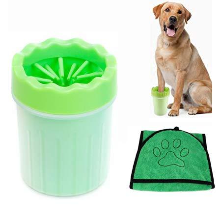 Ysislybin Hunde Pfotenreiniger, Haustier Hunde Pfotenreiniger mit Handtuch, Hunde Pfote Reiniger, Tragbarer Pet Reinigung Pinsel Tasse für Haustier Normale und Große Pfoten