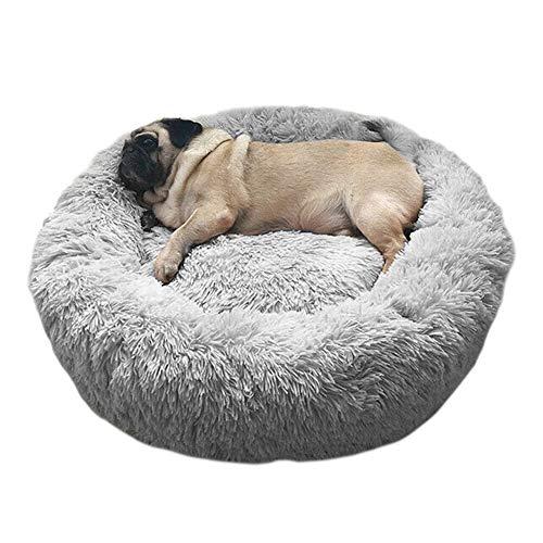 Haustierbett Hundebett Katzenbett Rund Weich und Weich für Haustiere/Welpen/Haustier/Katzenbett in Doughnut-Form (60cm hellgrau)