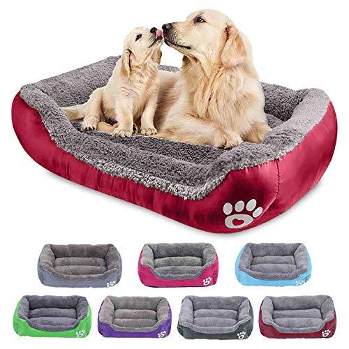 Hundebett Grosse Hunde, Orthopädisches Hundebett Pflegeleicht, selbstwärmendes und atmungsaktives, waschbares Hundebett mit Rand, für kleine, mittlere und Grosse Hunde - Weinrot 95 * 75 * 18cm