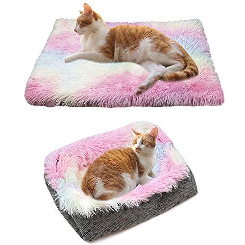 Selbstwärmendes Hundebett Faltbar, Selbstheizendes Plüsch-Katzenbettnest Weiches Haustier Beruhigendes Bett Waschbares Schlafbett, Bunt Haustierkissen Matte Katzendecke Für Innen Draussen