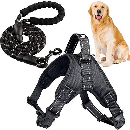 Xnuoyo Hundegeschirr mit Leine Hundegeschirr für Hunde Anti Zug Geschirr Brustgeschirr Mit Gepolstertem Griff Reflektierendem Geeignet für Kleine, Mittlere und Große Hunde (schwarz, XS)