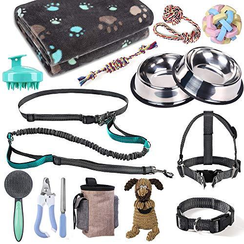 Welpen-Starter-Set, Hundezubehör für kleine und mittelgroße Hunde, 17-teilig, Hundehalsband und Leine, Welpenzubehör-Kit mit Hundegeschirr und Napf Set