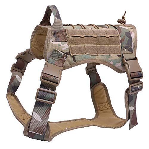 Hundegeschirr Nein Pull-Hundegeschirr aus Heavy Duty Nylon Hundeweste Easy Control für Outdoor Gehen Camouflage XL