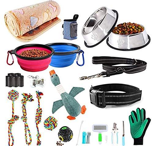AONESY Welpen Wesentlich Set 24 Stück Hundebedarf Hund Anfänger Sets Einschließlich Hundespielzeug-Set/Hundedecken/Puppy Training Supplies/Hundepflege-Tool/Fütterung & Bewässerung Supplies