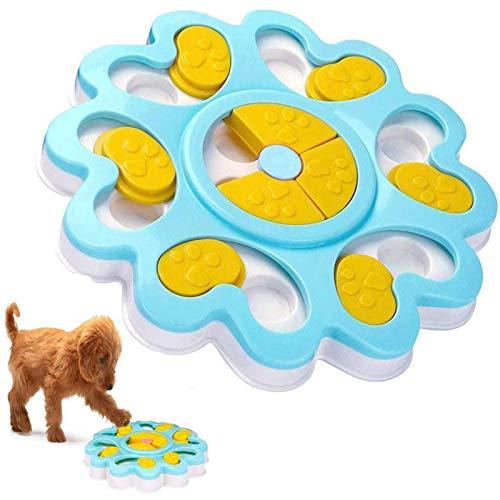 ADOGO Hund Puzzle Feeder Spielzeug, interaktive Treat Dispenser Puzzle Hundespielzeug, Hundetraining Spiele Feeder mit rutschfesten, verbessern IQ Slow Feeder Puzzle Bowl für Welpen Haustier (Blue)