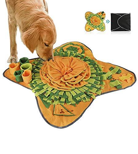 RMane Schnüffelteppich Hund Intelligenzspielzeug Schnüffelspielzeug Langlebiges Interaktives Hundespielzeug Fördert Die Natürlichen Futtersuchfähigkeiten 71 x 71 cm (Orange-Grün 70 * 70cm)