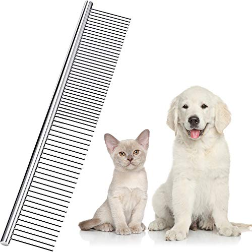Boao Edelstahl Haustierkamm Haustierpflegekamm Abgerundete Zähne Hundekamm für Große, Mittlere und Kleine Hunde und Katzen mit verwirrtem kurzen/Langen Haar, 19 x 3 cm