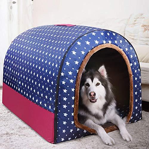 Extra großes Jumbo-Hundebett mit Dach, XL, mittelgroßes Hundehaus, orthopädisches Kissen, gemütlich, beruhigend, aus Weidengeflecht, warmes beheiztes Kissen, waschbar, Schlafkorb mit Labrador