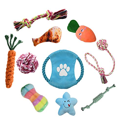 Bestdon Welpenspielzeug Set,Hundespielzeug Welpen Hunde Kauspielzeug Baumwollknoten Spielset Seil Interaktives Hunde Spielzeug Set