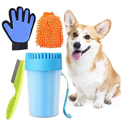 MEISHANG Haustier Pfotenreiniger Tragbarer Pfotenreiniger,Dog Paw Cleaner,Haustier Bürsten Handschuh,Pfotenreiniger für Hunde,Microfaser Handschuh,Flohkamm Hunde