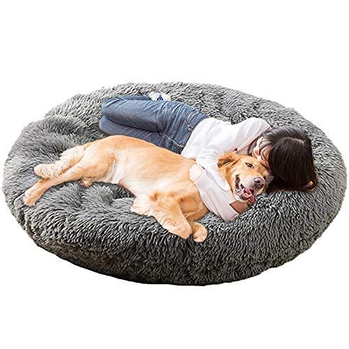 Jumbo Extra Large XXXL Hundebett Orthopädisches Donut Beruhigendes Anti-Angstkissen Flauschiges Plüsch Sofa Geflecht Beheizte Höhle XXL Schlafkorb XL Waschbar Medium Dunkelgrau