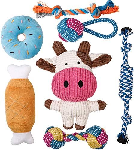 Toozey Welpenspielzeug - 7 STK Langlebiges Hundespielzeug für Welpen/kleine Hunde - Kauspielzeug und Quietschspielzeug Intelligenz - Naturbaumwolle & Ungiftig