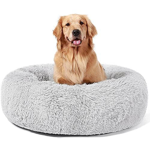 ANWA Haustierbett Donut Hundebett, Welpe Hundebett große Hunde, rundes Plüsch Hundebett weiches Hundesofa (XL) 91 cm
