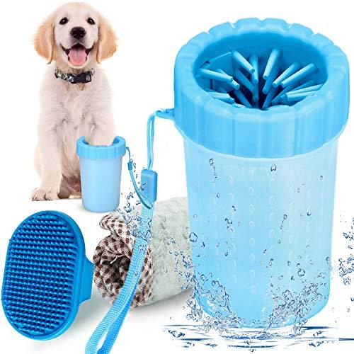 YMCCOOL Haustier Pfotenreiniger, Haustier Hunde Katzen Pfotenreiniger mit Handtuch und Bürste,Tragbarer Pfotenreiniger für Hunde Katzen Massage Pflege Schmutzige Klauen (Blau)