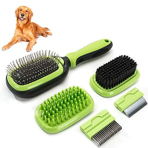 Sammiu Haustierpflege-Bürste 5 in 1 Haustier-Massage-Kit Hundebürste Katzenbürste Bad/Borste/Nadelbürste Enthaarungswerkzeug für Hunde und Katzen mit Langen oder kurzen Haaren